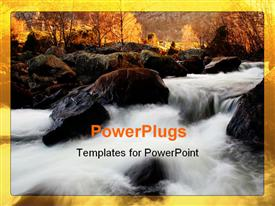 PowerPoint template displaying sun rise view of a river flowing down rocks