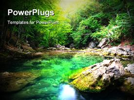 PowerPoint template displaying river deep in mountain forest. Nature composition in the background.