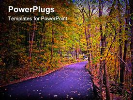 PowerPoint template displaying country Lane in full autumn color in the background.