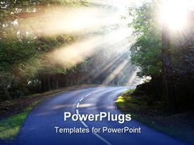 PowerPoint template displaying forest road with shafts of sunlight through early morning mist