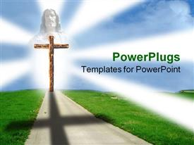 PowerPoint template displaying clean path with green lawn on either side leading to wooden cross