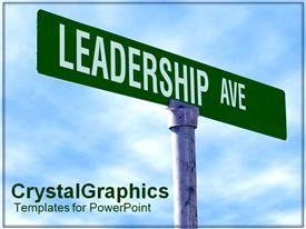 PowerPoint template displaying leadership street as a metaphor directions decisions choices blue background