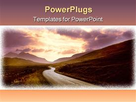 PowerPoint template displaying road through mountains sunset sky highway hills evening sunrise