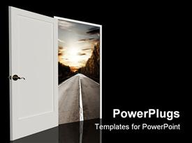 PowerPoint template displaying door open in the real world in the background.