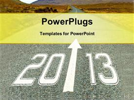 PowerPoint template displaying depiction path leading new year mountains distance