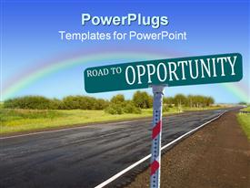 PowerPoint template displaying a road sign indicating road to opportunity