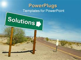 PowerPoint template displaying a road in the desert with solution sign pointing towards right
