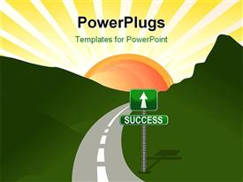 PowerPoint template displaying narrow two lane road through hills with street sign to success