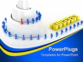 PowerPoint template displaying team with a leader walking upward spiral mountain to success
