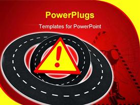 PowerPoint template displaying a number roads with a warning symbol