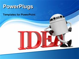 Robot leaning on idea template for powerpoint