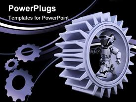 PowerPoint template displaying robots with gear mechanism in the background.