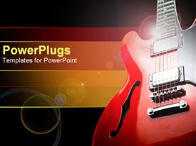 PowerPoint template displaying red and black guitar on the right side with yellow, orange and red band on black background