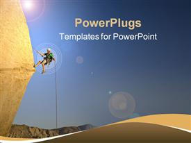 PowerPoint template displaying rock climber rappelling past an overhang in Joshua Tree National Park California on a summer evening