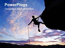 PowerPoint template displaying rock climber is silhouetted against the evening sky