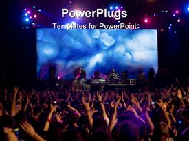 PowerPoint template displaying cheerful crowd at the rock concert with raised hands in the background.