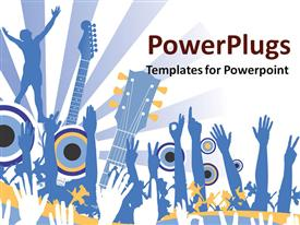 PowerPoint template displaying hands raised in the air for music concert with guitars and light rays on white background