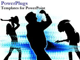 PowerPoint template displaying silhouettes of singers and dancers over blue energy