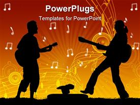 PowerPoint template displaying guitar rock stars silhouettes, abstract art