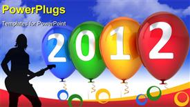 PowerPoint template displaying new 2012 Year balloons multicolor blue green yellow red decoration with silver text