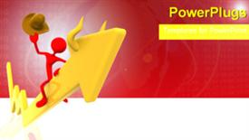 PowerPoint template displaying a red 3D character sitting on a big yellow arrow