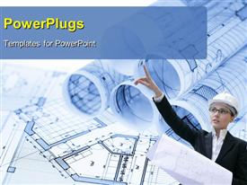 PowerPoint template displaying rolls of architecture blueprints & house plans with architect in foreground