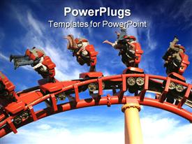 Theme Park Roller Coaster Close up in theme park powerpoint template