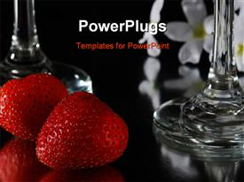 PowerPoint template displaying ripe red strawberries on a glass table with wine glasses and a bouquet of white flowers in the background.