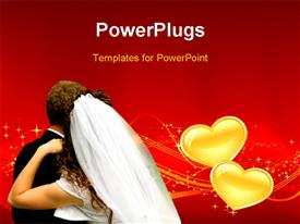 PowerPoint template displaying wedding depiction with couple over red background and yellow love symbols