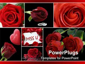 PowerPoint template displaying love collage with red roses, silver hear padlock, I love you