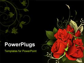 Flower illustration composition over a black background powerpoint template