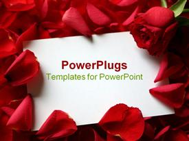 PowerPoint template displaying card and roses with message card