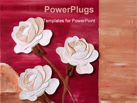 White roses in front of red background powerpoint template