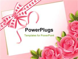 PowerPoint template displaying pink ribbon with hearts tied in bow and roses