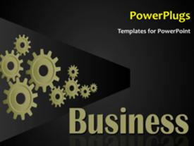 PowerPoint template displaying animated business background with connected cogwheels rolling