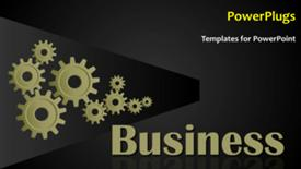 PowerPoint template displaying animated business background with connected cogwheels rolling - widescreen format