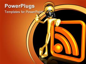 PowerPoint template displaying gold plated man with black nose mask leaning against RSS feed symbol