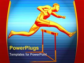 PowerPoint template displaying red and gold runner jumping over hurdle with blue background, race, endurance