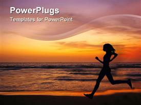 PowerPoint template displaying jogging at sunset on double six beach seminyak Bali Indonesia