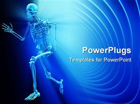 PowerPoint template displaying a human skeletal system on a blue colored background