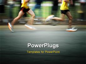 Marathon runners with motion blur and room for copy template for powerpoint