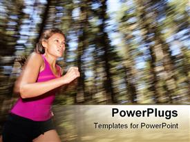 Running, Female runner running fast at great speed in forest powerpoint design layout