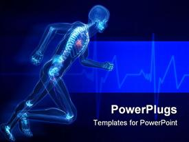 PowerPoint template displaying running man with skeleton x-ray visible in blue background