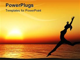 PowerPoint template displaying running woman on coast of ocean. A sunset
