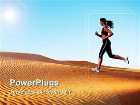 Woman running on the sand dunes template for powerpoint