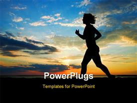 PowerPoint template displaying sunset. a woman running on the beach in the background.