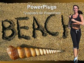 PowerPoint template displaying adult female running with a shell and beach text
