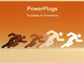 PowerPoint template displaying rendering the running people with the evident leader