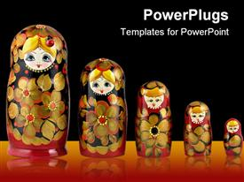PowerPoint template displaying russian nesting dolls ( babushkas or matryoshkas )