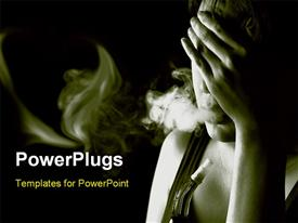 PowerPoint template displaying a girl worried and smoking with dark background
